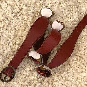 Anthropologie Lucky penny floral leather belt